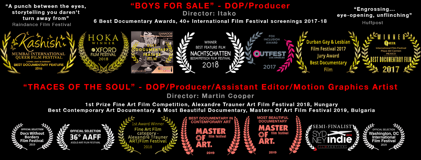 Multi award winning Feature Documentary 'Boys For Sale' laurels -  Adrian Storey/Uchujin-DOP & Producer